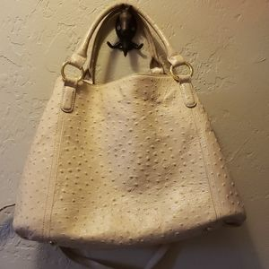 GILI Ivory Faux Ostrich Leather Bag